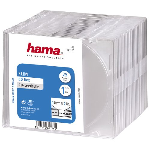 Hama CD-Leerhülle Slim, 25er-Pack, Transparent