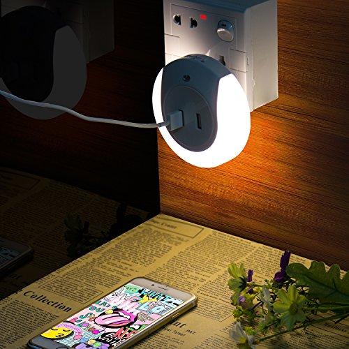 UVISTAR Automatisches Nachtlicht mit Dämmerungssensor, LED Steckdosenlicht, Dual USB Ladegerät, Aufladar für Smartphone PC Pad, für Kinderzimmer Babyzimmer, Tragbar und zum Mitnehmen, Kaltweiß Dual Mobile