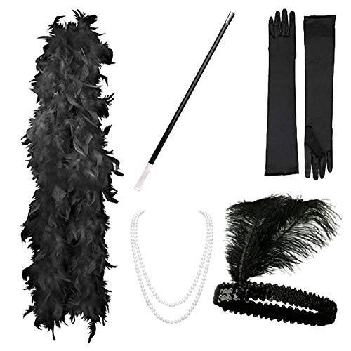 Flapper Zubehör Stirnband Halskette Handschuhe Zigarettenspitze Halloween Kostüm Accessoires für Damen 5 Stück ()