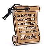 Fashionalarm Schlüsselanhänger Freundin - Urkunde aus Holz mit Gravur | Geburtstag Geschenk Idee zum Danke sagen für die Liebste Beste Freundin