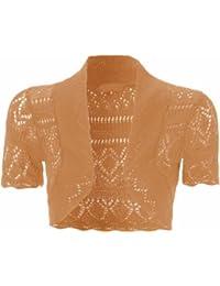 Nouvelles femmes plus size knit crochet filet de poisson-boléro shrugs tops 36 à 48