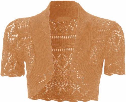 CHOCOLATE PICKLE New Womens Plus Size Crochet Knit Fish Net Bolero Shrugs Tops 8-20 (Peach, UK 16-18/EU 44-46) - Peach Knit Top