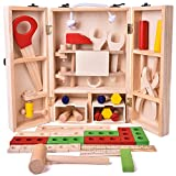 #6: Toyshine Pretend Play Wooden Tool Set Toy with Carry Case Packaging