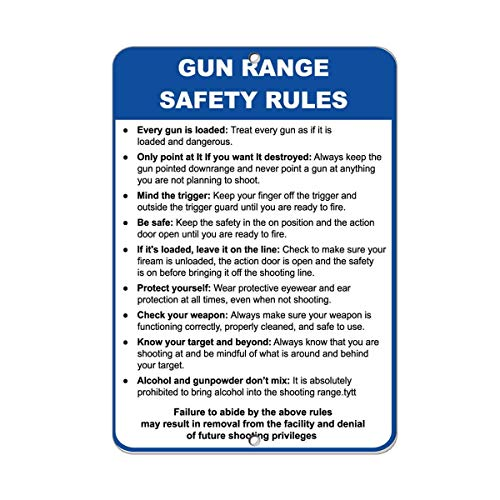 Monsety Schild für Garage, Hof, Zaunschild, Gewehr-Range Sicherheitsregeln Jede Pistole ist geladen, Sicherheits-Schild, Wand-Dekoration, Straßenschild, 20 x 30 cm -