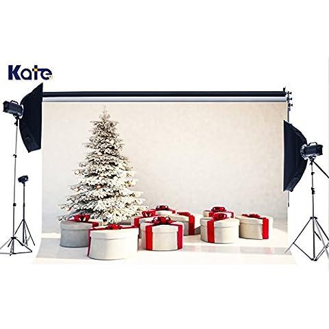 2,1x 1,5m sfondi sfondo Albero di Natale Confezione Regalo rotondo bianco Fotografia Prop Shoot Kate hj02225
