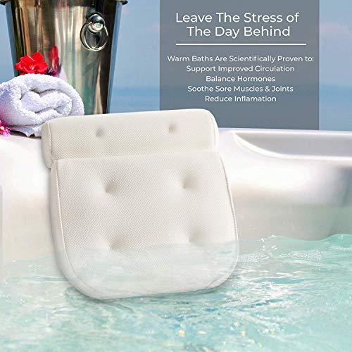 Haice Badewannenkissen Badewannen Kissen Komfort Badekissen mit 6 Saugnäpfen Wannenkissen Nackenkissen Ergonomische Home Spa Kopfstütze für Badewanne, Whirlpool