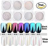 USHION 7 Jar Perla Polvere Effetto Specchio Iridescente Aurora Cristallo Lucido Chrome Nail Powder Nail Art Kit di Decorazione con Spugna Stick