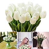 LONGBLE Tulpe künstliche Blumen,12 Stück Weiß Künstliche Tulpen Familie Garten Hochzeit Wedding Bouquet Hause Deko Kunstblumen Tulpenbündel für Geburtstag Party Dekoration
