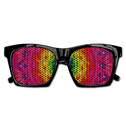 Mesh Sunglasses Sports Polarized, Hippie Circular Rainbow Spiral Inside Ethnic Asian Figure Hipster Artwork,Fun Props Party Favors Gift Unisex