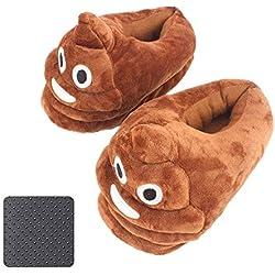 Emoji Zapatillas Suave Zapatillas Lindo Peluche de Dibujos Animados Poop Unisex,Anti-Slip Zapatillas para Niños, Hombres, Mujeres Invierno Pantuflas Indoor (marrón)