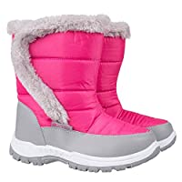 Mountain Warehouse Caribou Kids Fur Trim Snow Boots - Snowproof, Fleece Lining, High Traction Sole - Perfect to Keep Your Kids Feet Warm in Cold Winter Days
