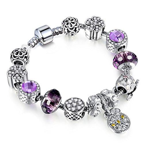 Preisvergleich Produktbild HJSL Olivenzweig Kristall Legierung Großes Loch Perlen Armband Mädchen Valentinstag Geschenk Europäischen Modeschmuck,Purple-21CM