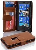 Coque Nokia Lumia 920 en COGNAC / MARRONE Cadorabo Etui de Protection Complète avec Rabat à Clapet et 3 Fentes pour Cartes Pratiques en Simili-Cuir – Poche Protective Folio Housse Portefeuille avec Fermoire Magnétique - Flip Case Cover Wallet
