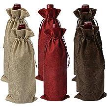 Bolsas de Vino de Yute, Bolsas de Regalo Ideales para Vino, 35 x 15cm