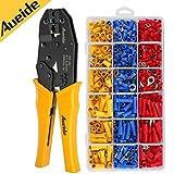 Aueide Crimpzange Kabelschuhe Set, 27 Arten von Flachstecker AWG20-10(0,5-1,5 mm²) (1,5-2,5 mm²) (4-6 mm²) Kabelschuh Sortiment Kabelschuhzange Aderendhülsenzange mit 700 Stück Aderendhülsen Set