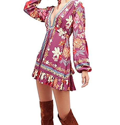 Free People Women's Violet Hill Print Tunic, Floral, Low Plunge Neck, 4 Colours US SIZE 8
