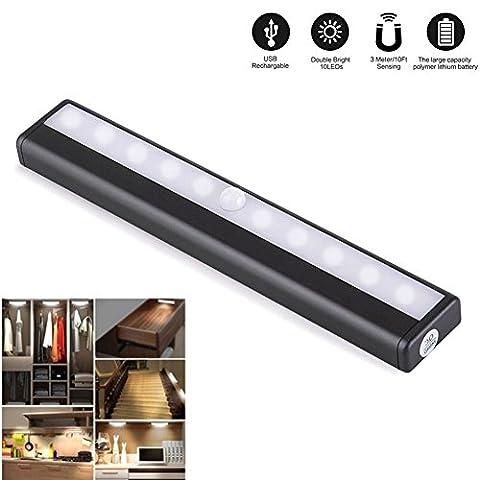 10 LED-Licht Bewegliche Drahtlose Akku Gespeist PIR Bewegungs-Sensor Hell Night Light Bar Aluminiumgehäuse mit Stick-on (Metri Stick)