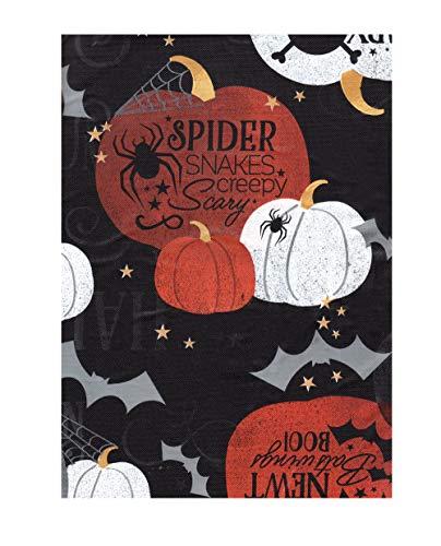 untiful Harvest Tischdecke aus Vinyl mit Flanellrückseite, Gruseliger Kürbis-Spinnen-Fledermaus-Design 60 Round Mehrfarbig ()