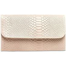 CASPAR TL722 Bolso de Mano Fiesta Clutch para Mujer de Cuero Genuino con Estampado de Cocodrilo