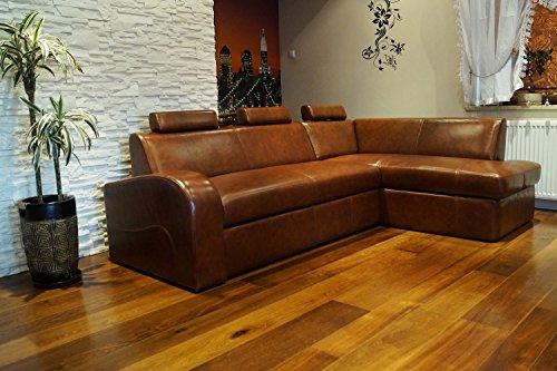 """Echtleder Ecksofa \""""ANTALYA II 3z \"""" 245 x 164cm Sofa Couch mit Schlaffunktion , Bettkasten und Kopfstützen Eck Couch Echt Leder \""""Antique Brown 3000\"""""""