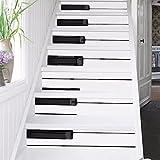 Frolahouse 6 PCS 3D Piano Tasten selbstklebende Treppen Sticker Abnehmbare wasserdichte Wandsticker - Stair Riser Decal für Wohnzimmer, Hall, Kinderzimmer Dekor