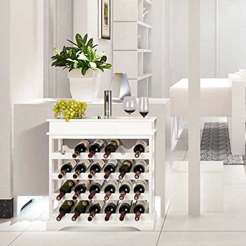 HOMFA Weinregal Flaschenregal für 24 Flaschen Weinhalter Weinständer Flaschenständer Weinflaschenhalter weißes Holz 70x70x22,5cm - 6
