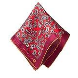 VON FLOERKE Handrollierte Einstecktuch 100% Seide – 30x30cm – mit Paisley Muster – Purple – hochwertige Kavalierstücher/Pochette für Herren