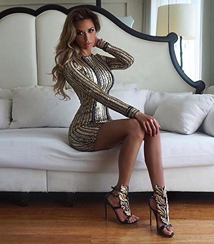 Missord Women O-neck Long sleeve Sequin Belt rope Party Dress XS 6