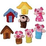 Lot de 8pcs Marionnettes à Doigts Comptine Conte de Fée les Trois Petits Cochons