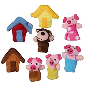 PANYTOW Set of 8pcs Plush Finger Puppets Story the 3 Little Pigs