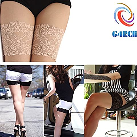 G4RCE® Women Girls Non Slip Lace Elastic Sock Anti-Chafing Thigh Bands Prevent Thigh Chafing Sock 4 Sizes UK (D (63-68cm), Beige)