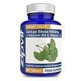 Ginkgo Biloba 6000mg hohe Stärke + Vitamin B3 & B5 | 360 Tabletten | GMP Hergestellt in Großbritannien | Vegetarisch | 12-Monats-Vorrat
