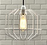 Luxa Lighting, grande paralume in metallo, a forma di gabbia, in stile retrò, look moderno, rustico, industriale, vintage White