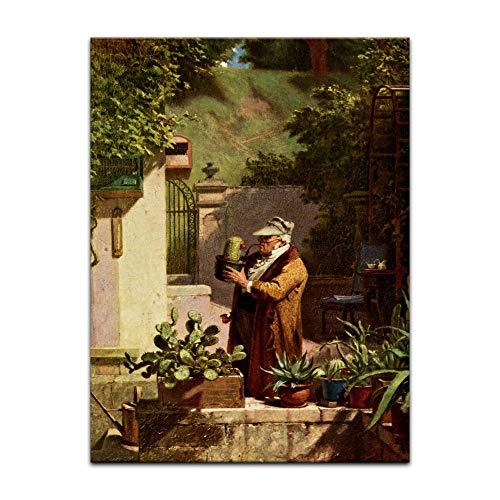 Bild ohne Rahmen - Carl Spitzweg Der Kaktusfreund 40x60cm ca. A2 - Kunstdruck Poster Alte Meister