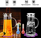 Carafe with lid 1.5L, BOQO glass jug with handle,milk carafe stainless steel cover infuse red wine,water,milk,fruit juice,hot coffee,hot tea,ice drinks,glass pitcher Borosilicate glass teapot 53oz
