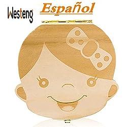Westeng Caja Almacenamiento Madera Almacenaje Para Dientes De Leche Niña Niña,1Pcs (A Niña Letra Español)
