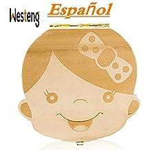 Westeng Caja Almacenamiento Madera Almacenaje para Dientes De Leche Niña Niña,1Pcs (A Niña
