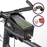 BTR Borsa per Bicicletta con Custodia Porta Telefono Cellulare Touch Anche per Smartphone. Nera.