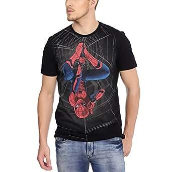 Spiderman Men's Printed Regular Fit T-Shirt (SH0FMT2653_black_XXL)