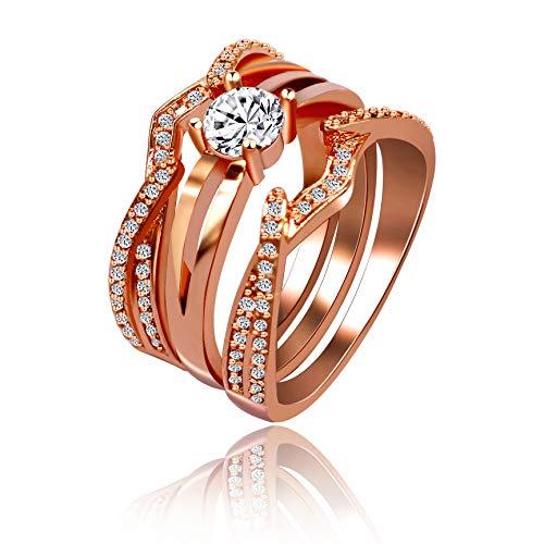 Uloveido rose placcato oro rosa anniversary wedding band 3pezzi infinity impilabile anello per donne con zircone bianco diamante taglia l o q s t con scatola y433 e ottone, 52 (16.6), colore: rosa, cod. y433-size6