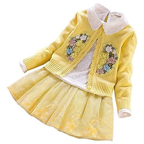 LSERVER-Mädchen 3 Stücke Strick Pullover Kleid Winter Häkeln Tutu Kleid Tops Kleidung Herbst-Winter Langarm Spleiß Langarm Kleid Mädchen Kleid