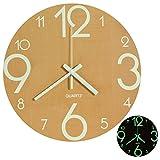 lenrus Luminous orologio da parete, 12pollici in legno Stille non tickende batteria da cucina con luci notturna per Indoor/Outdoor orologi da parete soggiorno camera da letto decorativa (Legno Colore)
