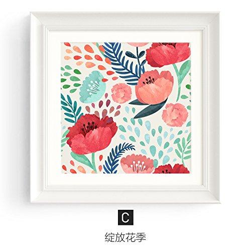 REAGONE Salón pintura de decoración cuatro sillones, sofás para colgar en la pared de fondo, Flor Restaurante murales Dormitorio,45*45,25mm de grosor,C: la temporada de floración de mercancías