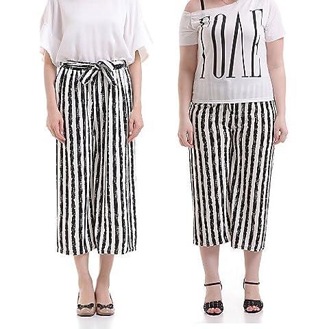 ZY Uomo/Donna Bianco/Nero a righe pantaloni gamba larga, Casual/Giorno, black-one-size