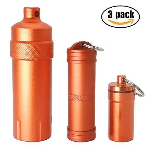 PPFISH qualité militaire à l'air EDC accessoire de Coque, Pill FOB Capsule Porte-clés, Match Case support de batterie, étanche d'extérieur de survie de stockage récipient en métal Dry Box (lot de 3)