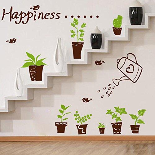 pjaros de felicidad macetas de plantas hojas verdes pared adhesivo pvc murales vinilo casa papel pintado