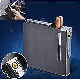 OOFAYWFD Delgada De Aluminio Metálico Caja De Cigarrillos Automático con USB Recargable