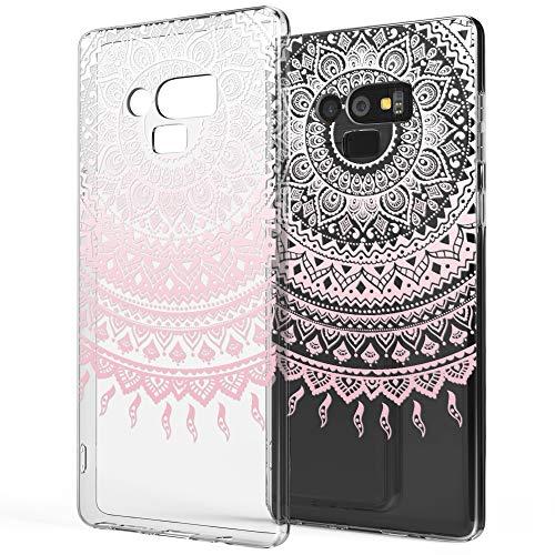 NALIA Hülle kompatibel mit Samsung Galaxy Note 9, Slim Handyhülle Motiv Silikon Case Cover Crystal Schutzhülle Dünn, Muster Etui Handy-Tasche Backcover Phone Bumper, Designs:Mandala Pink