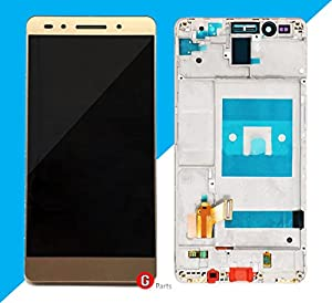 Premium? Kompl. LCD Display Touchscreen Glas Digitizer mit Rahmen für Huawei Honor 7 (GOLD) – Complete LCD Display Assembly with Frame - inkl. NANO Profi 3-in-1 Reinigungset - GOLD - NEU