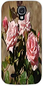 Snoogg Pink Roses Protective Case Cover For Samsung Galaxy S4